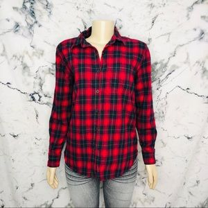 ❤️3/$25❤️Joe Fresh Plaid Button Down Size XS Red